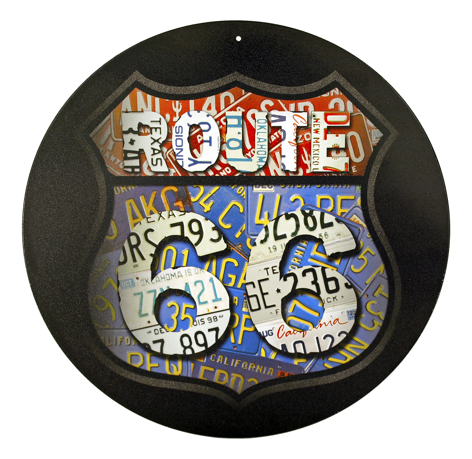 Route 66 Round Metal Sign