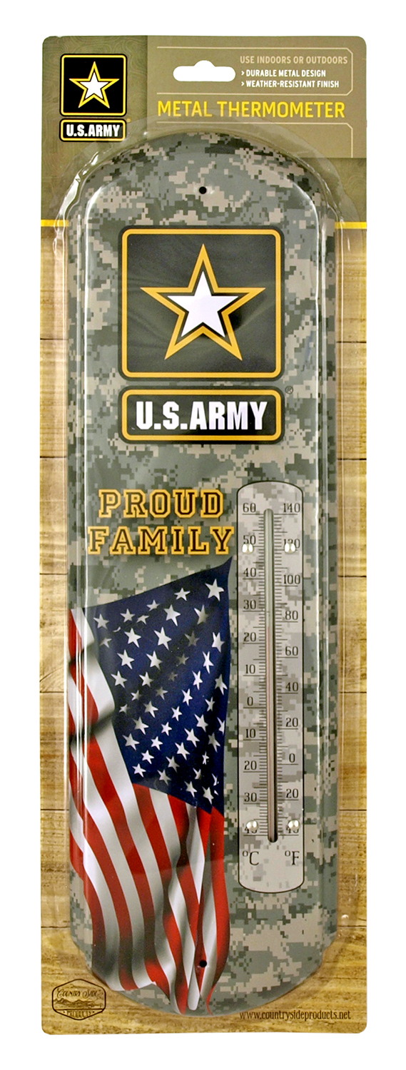 US Army Proud Family Metal Thermometer