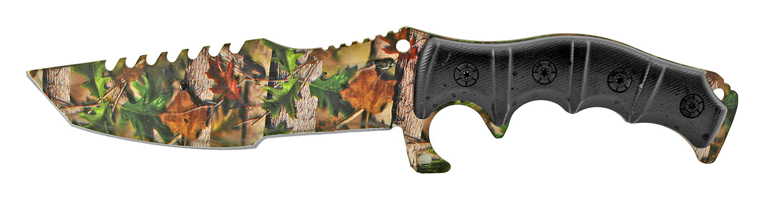 12 in Hunting Knife and Survival Kit with Fire Starter and Sharpening Stone - Woodland Camo