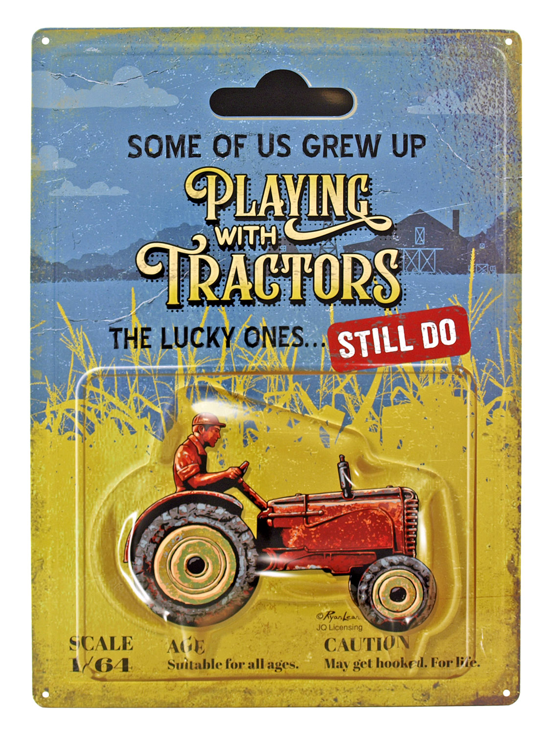 Playing with Tractors - Farmer Metal Tin Sign