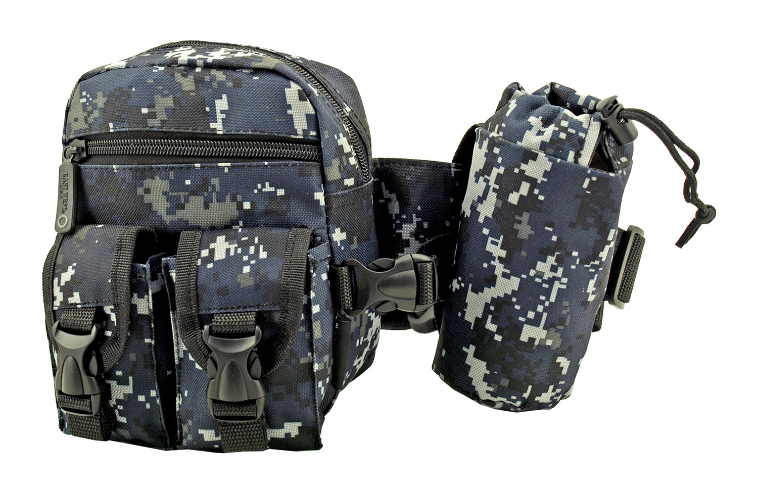 Rock Climbing Trail Hiking Tactical Specific Waist Hip Bag with Water Carrier - Blue Digital Camo