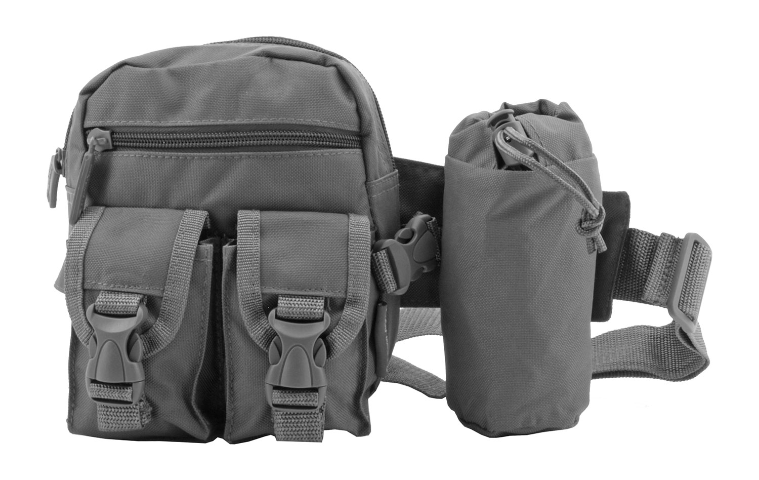 Rock Climbing Trail Hiking Tactical Specific Waist Hip Bag with Water Carrier - Grey