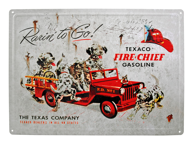 Texaco Gasoline Fire Chief Dalmatian Puppy Dog Metal Tin Wall Sign