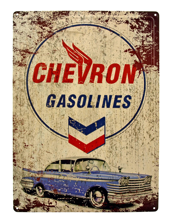 Chevron Gasolines 1955 Chevrolet Bel Air Vintage Metal Tin Sign