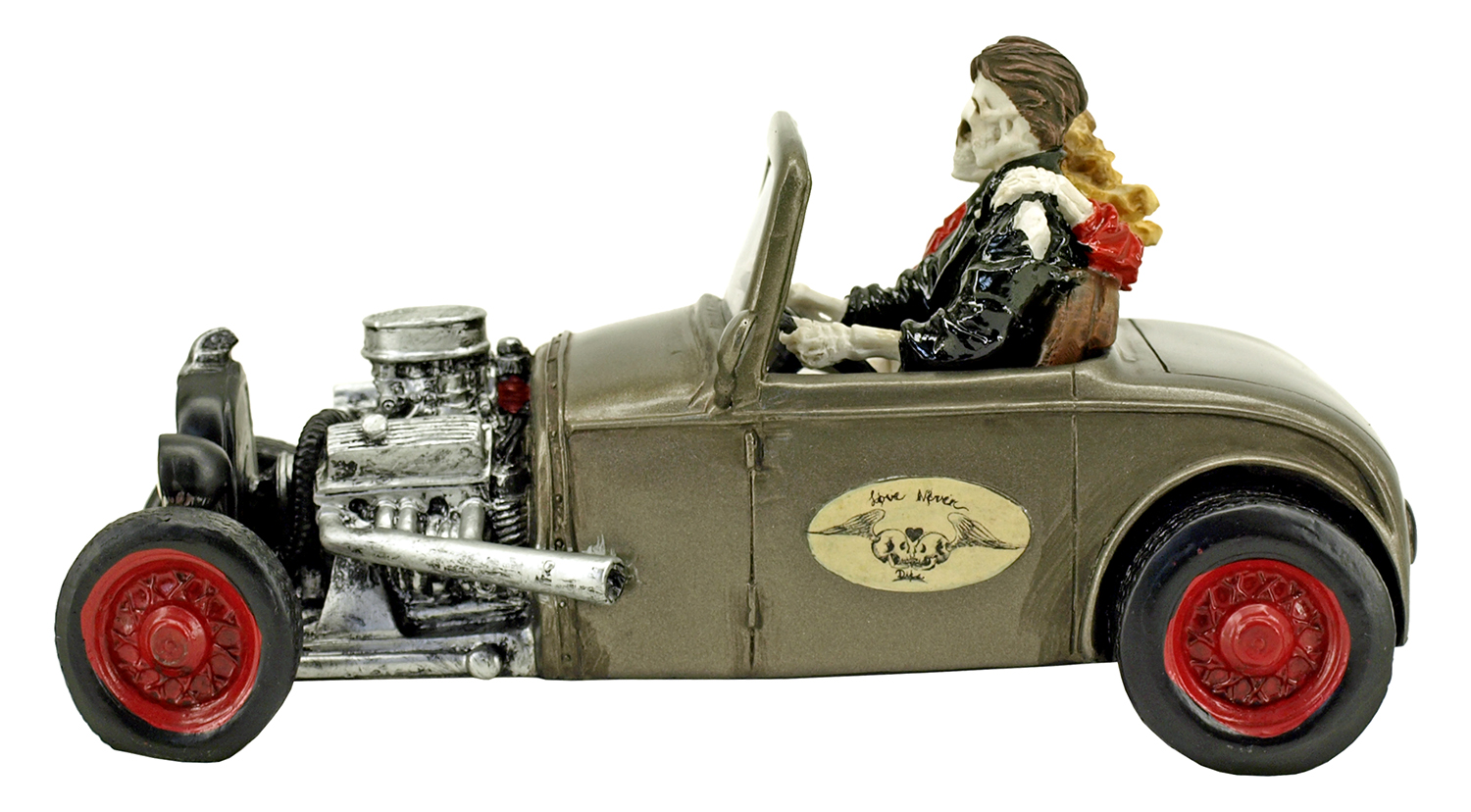 Love Never Dies Skeleton Couple Hot Rod Statue Figurine