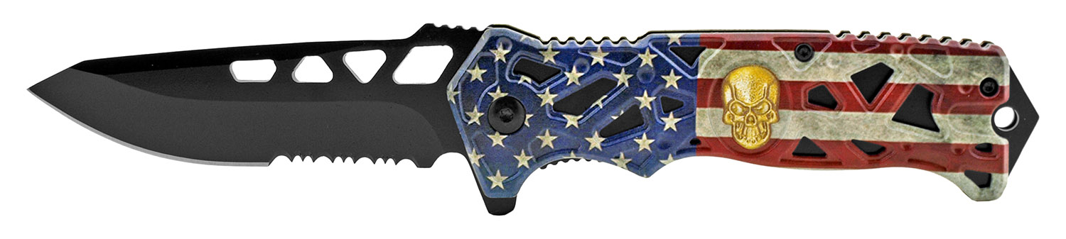 4.75 in Skull Folding Pocket Knife - United States Flag