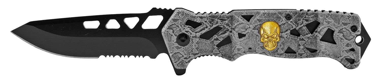 4.75 in Skull Folding Pocket Knife - Grey