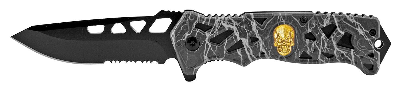 4.75 in Skull Folding Pocket Knife - Black