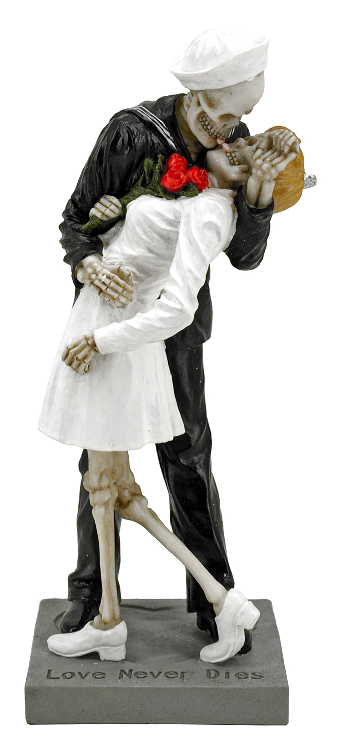 Love Never Dies V-J Day Sailor and Nurse Skeleton Statue Figurine