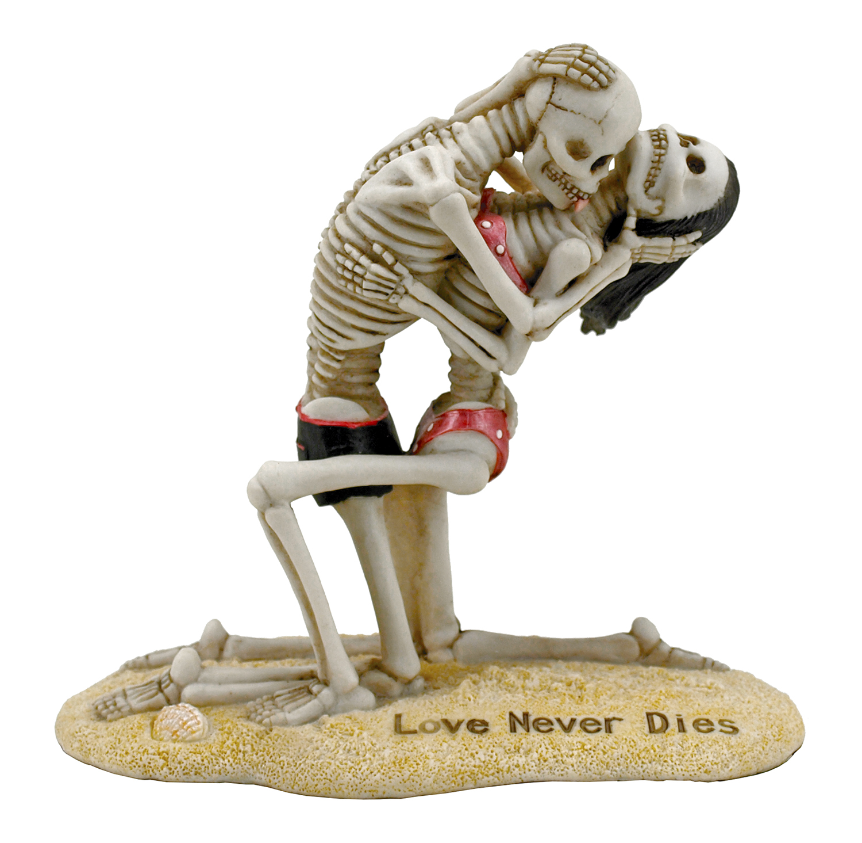 Love Never Dies Kneeling Skeleton Couple Beach Statue Figurine