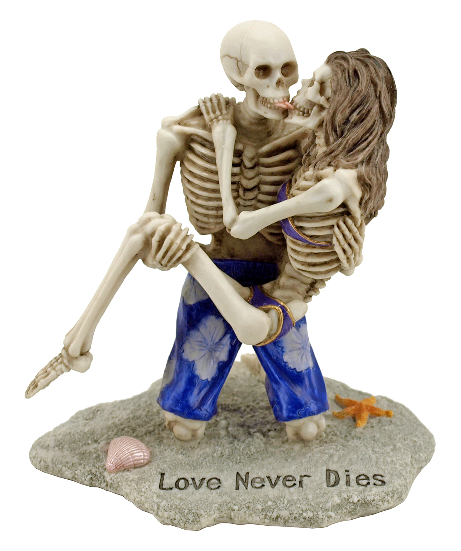 Love Never Dies Skeleton Couple Beach Statue Figurine