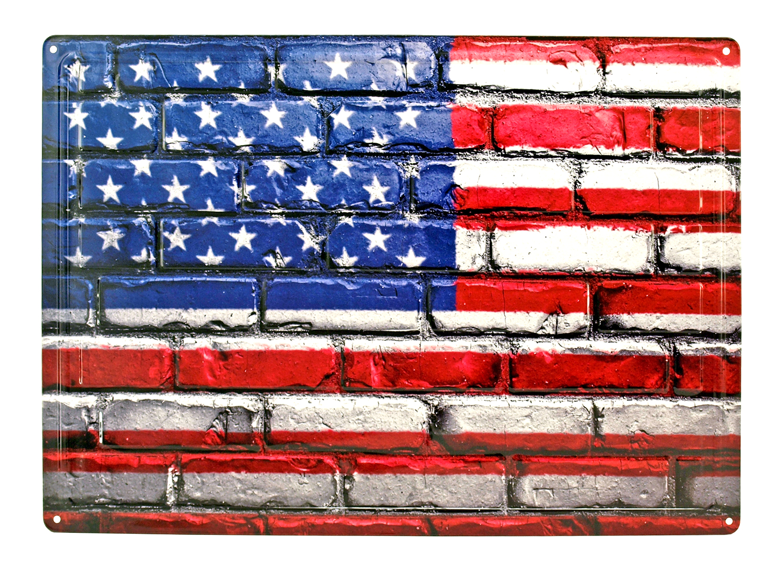 American Flag Brick Wall Metal Sign