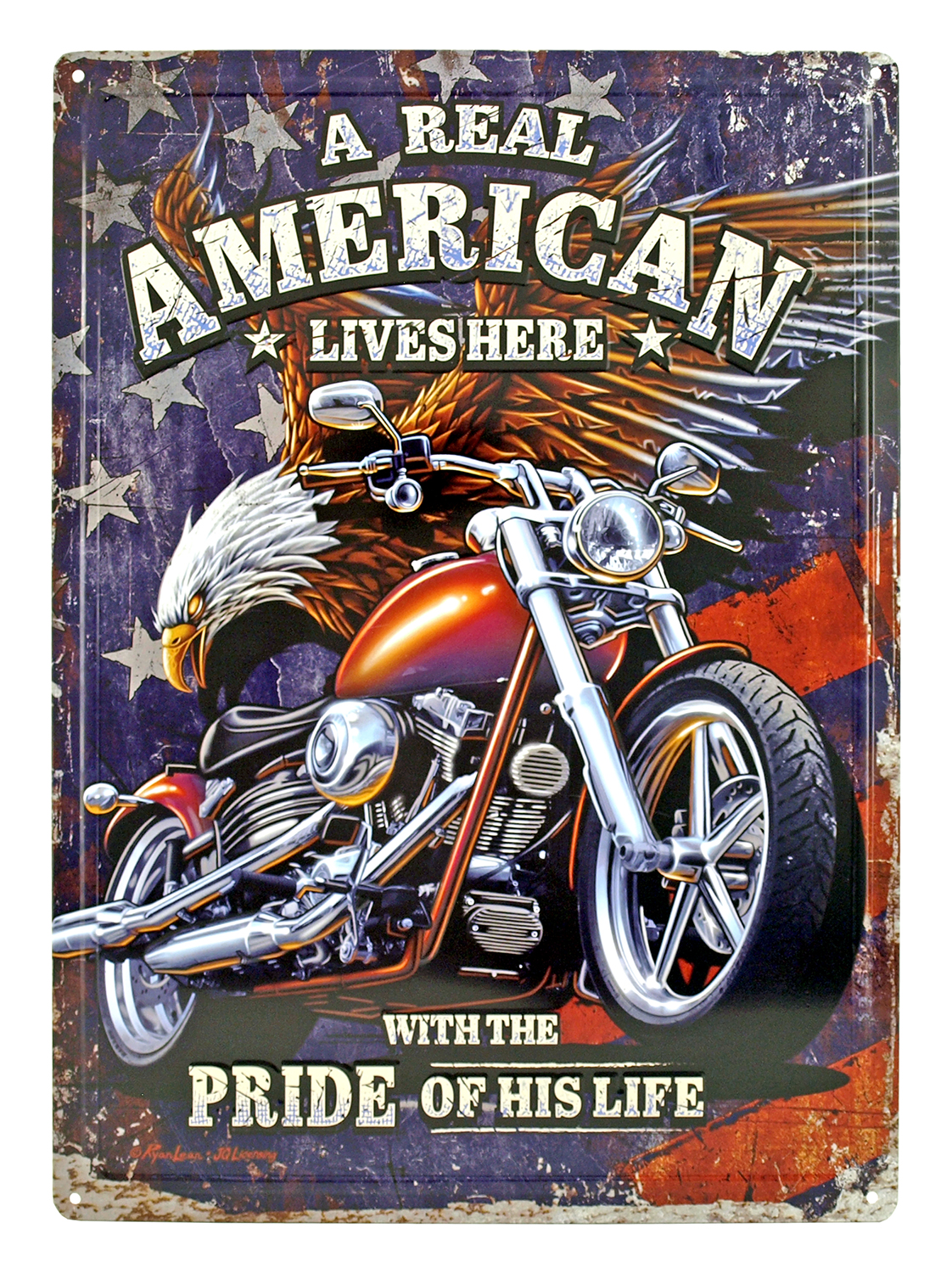 A Real American Motorcycle Metal Sign