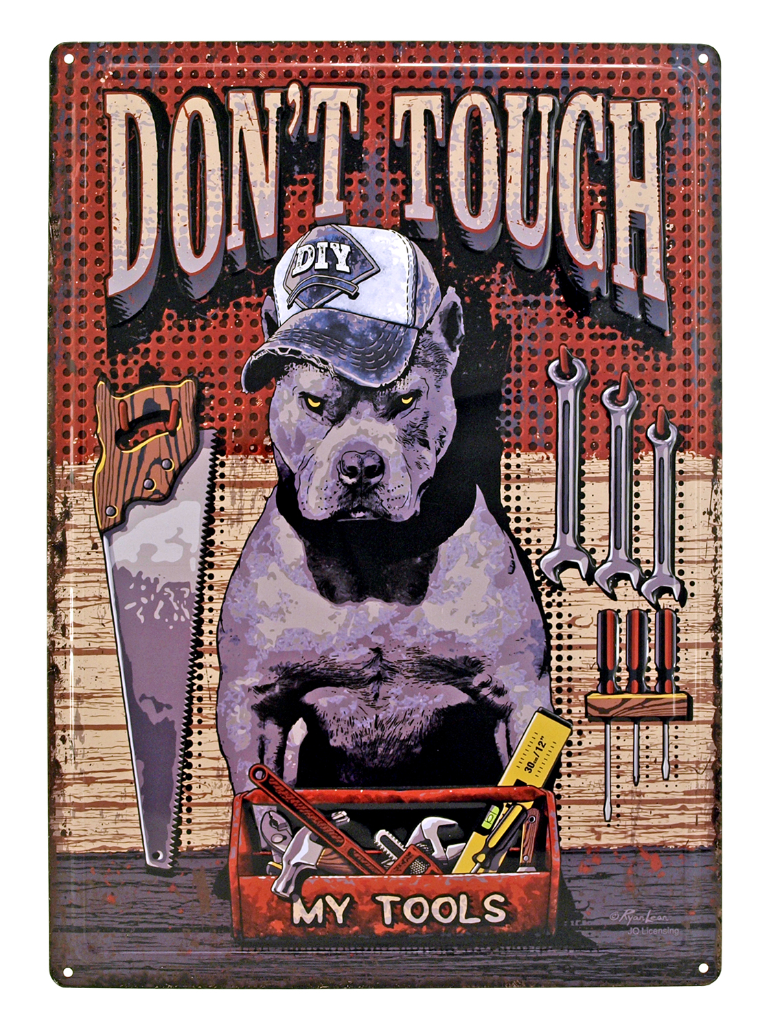 Don't Touch My Tools Pitbull Metal Sign