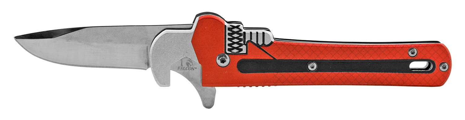 5.13 in Adjustable Wrench Styled Hex Head Screwdriver Folding Pocket Knife - Red
