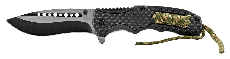 4.88 in Tactical Paracord Folding Pocket Knife - Carbon Fiber