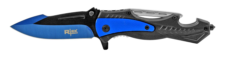 5 in Rtek High Tech Tactical Folding Pocket Knife wih Bottle Opener - Black and Blue