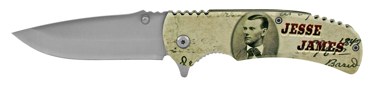 4.63 in Stainless Steel Traditional All Metal Folding Pocket Knife - Jesse James
