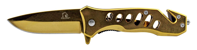 3.75 in All Metal Spring Assist Folding Pocket Knife - Gold