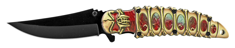 4.75 in Embossed Skeleton Skull Trailing Point Folding Pocket Knife - Red