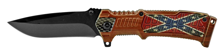 4.75 in Hi Tech Spring Assisted Folding Pocket Knife wih Belt Clip - Confederate Flag