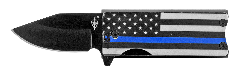 2.63 in Spring Assisted Folding Knife Pocket Knife Lighter Holder - Blue Line