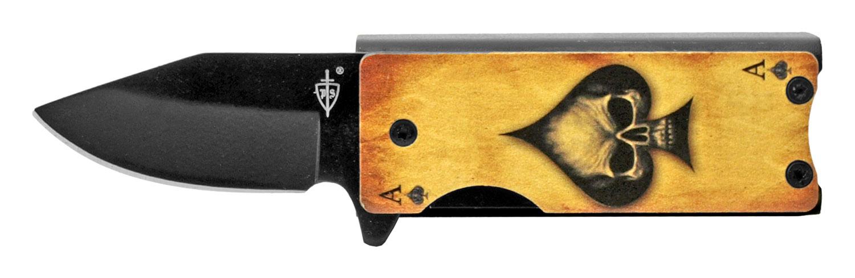 2.63 in Spring Assisted Folding Knife Pocket Knife Lighter Holder - Ace of Spades Skull