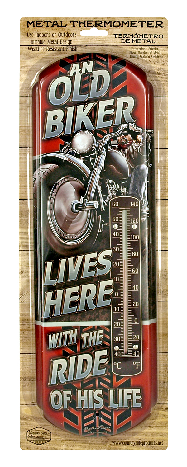 Old Biker Lives Here Metal Thermometer