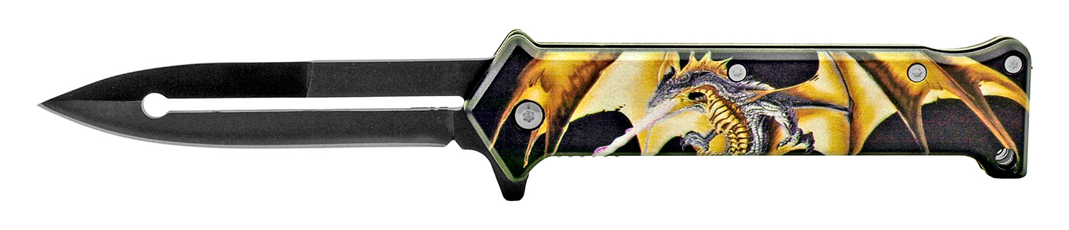 4.63 in Stiletto Spring Assisted Steel Folding Pocket Knife - Dragons Wrath