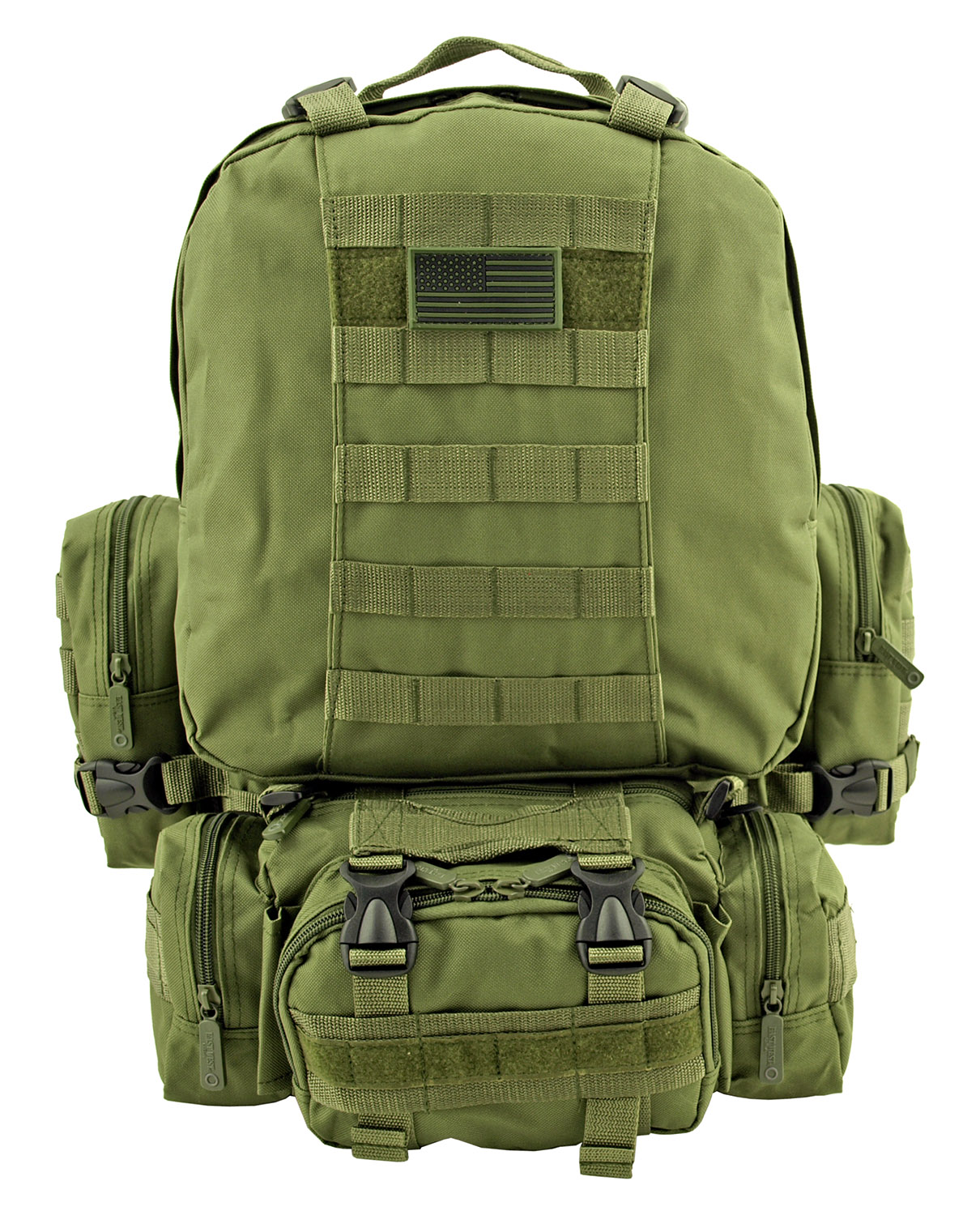 Large Tactical Assault Rucksack Backpack - Olive Green