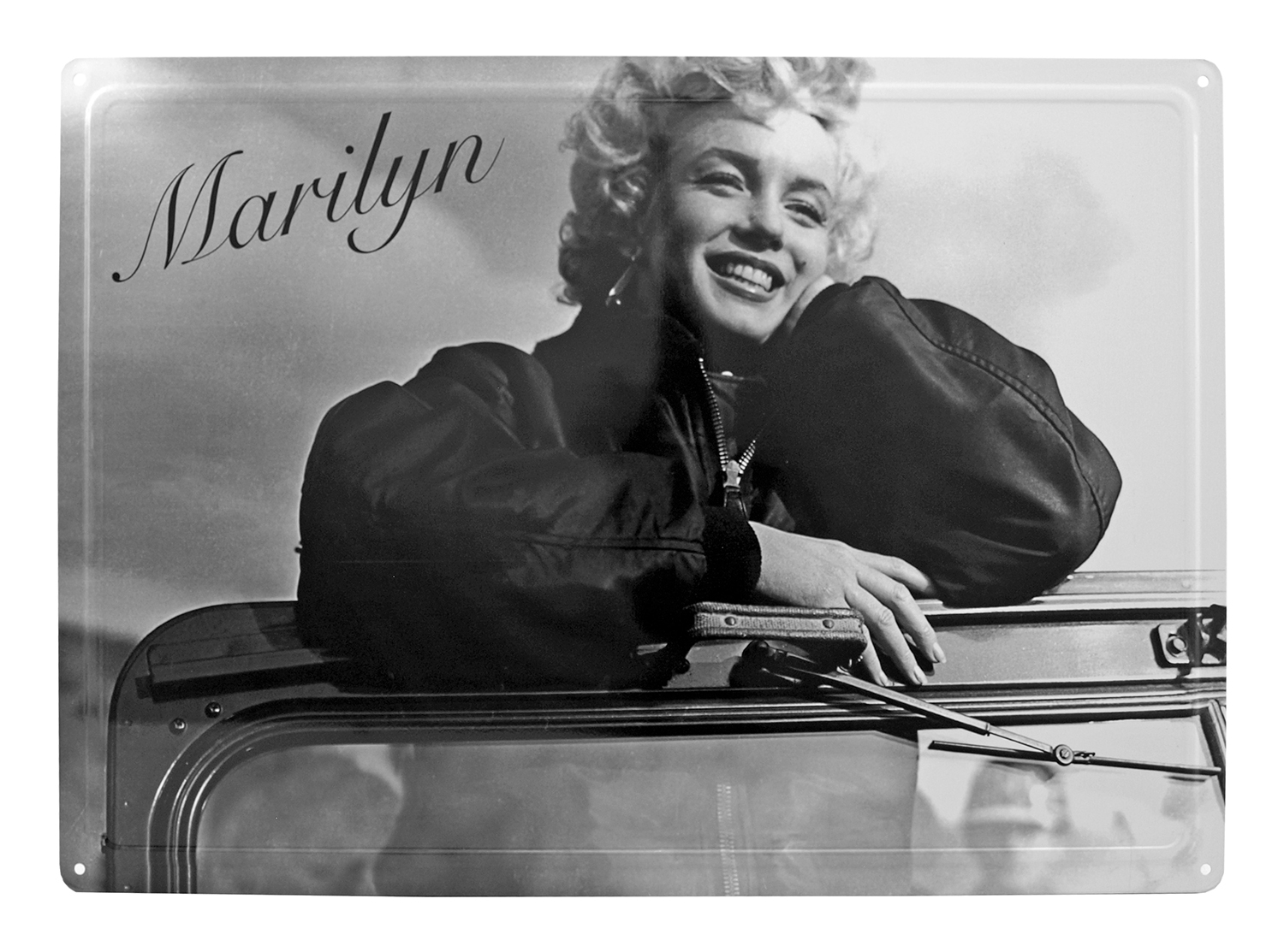 1954 Marilyn Monroe Visits American Troops in Korea Tin Wall Sign - Black and White