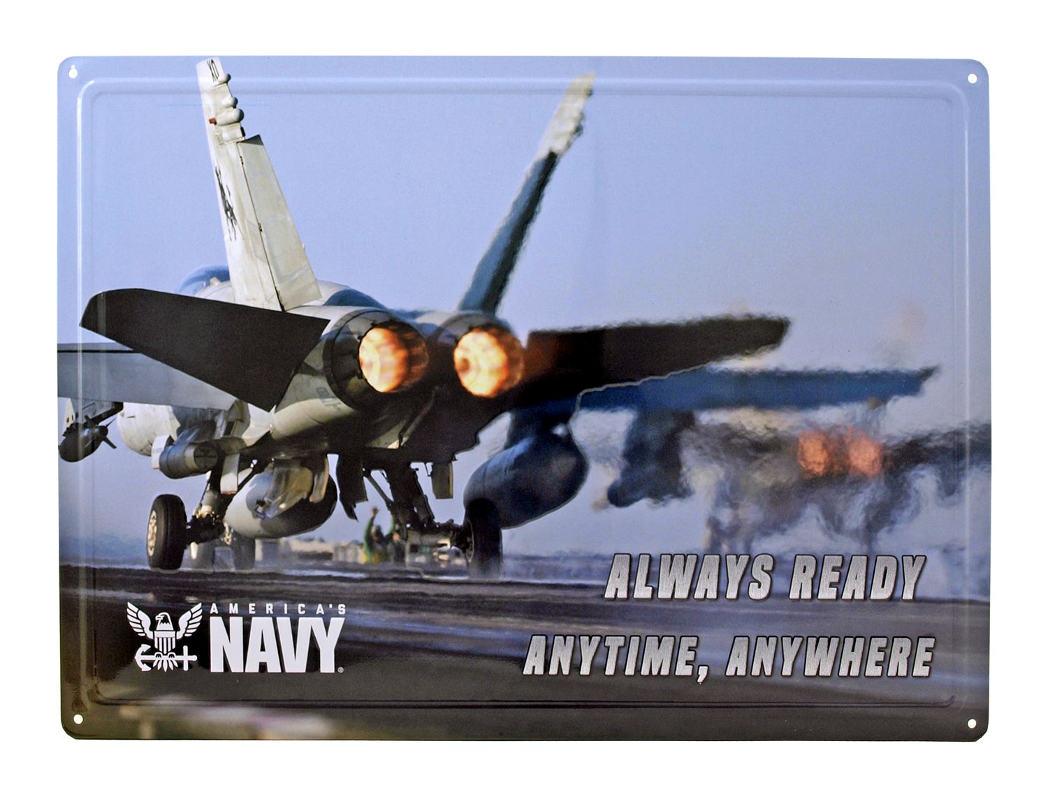 Aircraft Carrier Fighter Plane America's Navy Tin Metal Wall Sign
