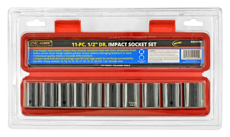 11-pc. 1/2 in Drive Impact Metric Socket Set