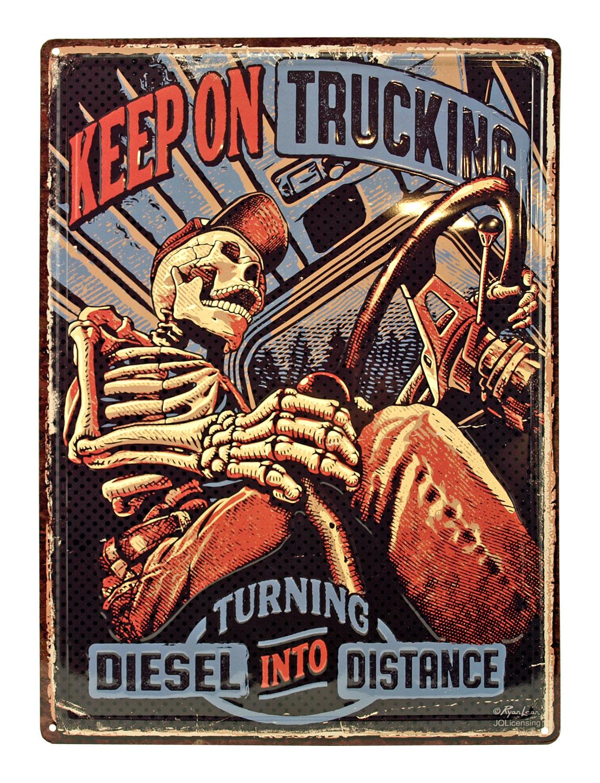 Keep on Trucking Skeleton Trucker Hat Tin Metal Wall Sign