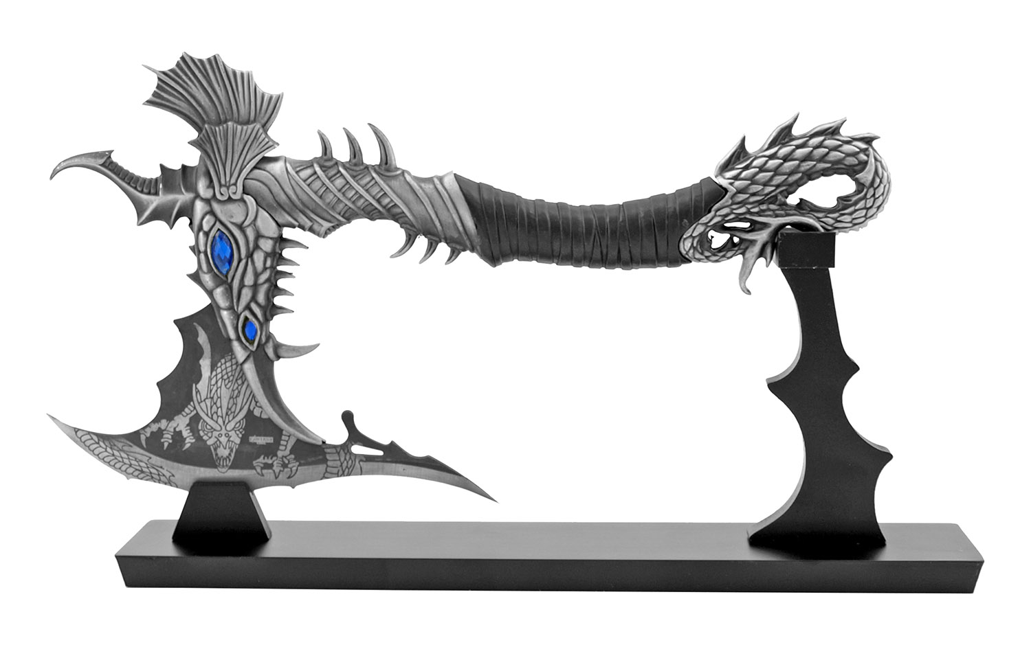 14.25 in Comic Book Anime Blue Dragon Warrior Display Axe with Display Stand