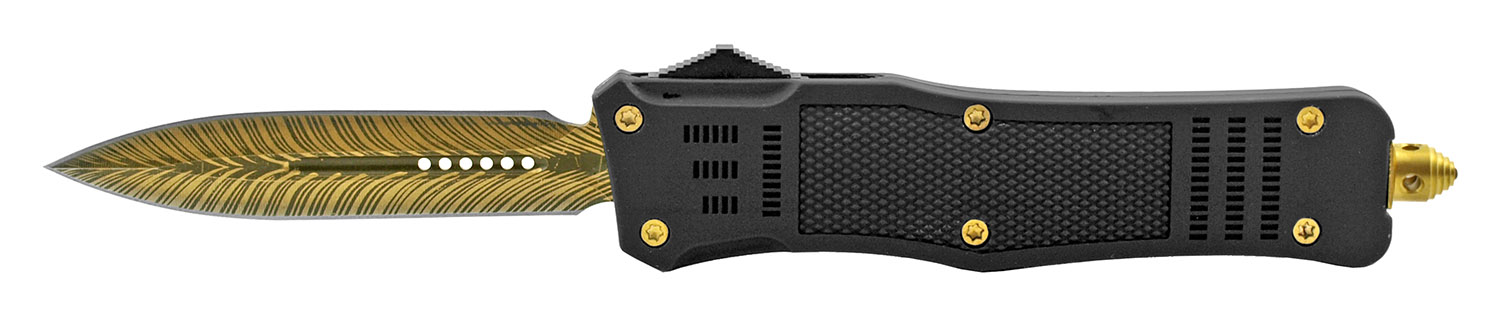 5.5 in Heavy Duty Tactical Grip OTF Folding Out the Front Automatic Pocket Knife - Black and Gold Feather