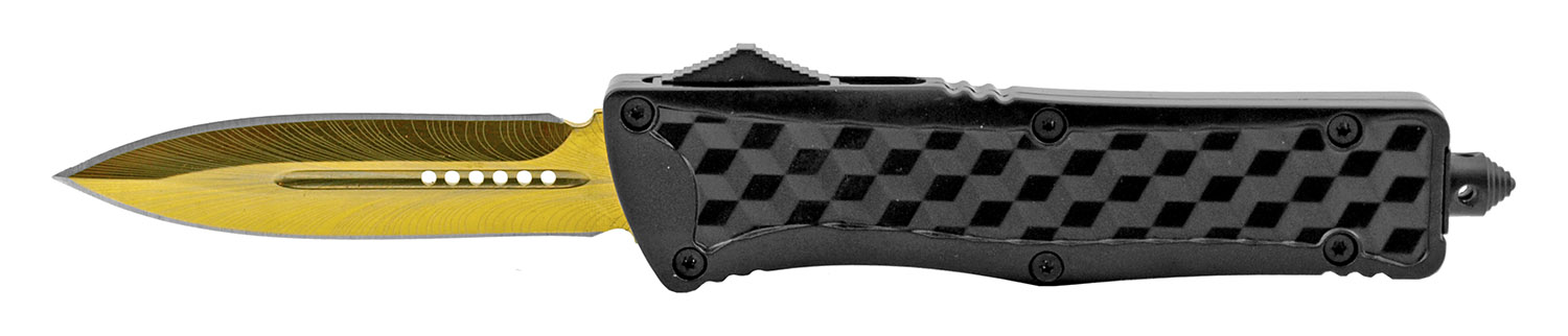 5.25 in Stainless Steel Heavy Duty OTF Folding Out the Front Automatic Pocket Knife - Black and Gold