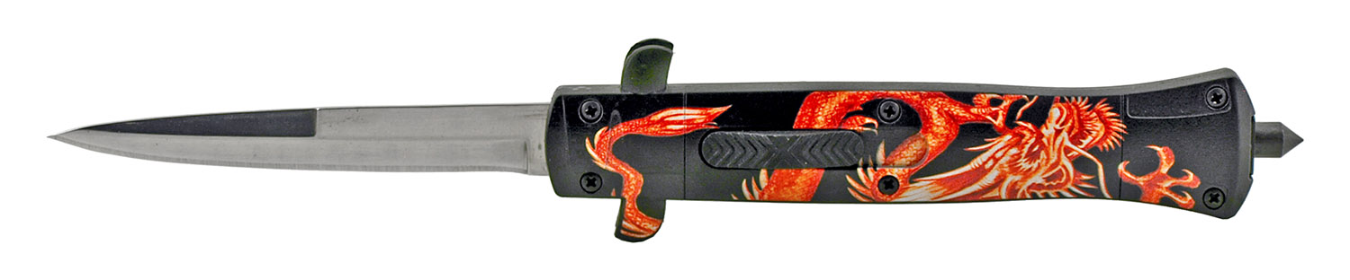 5.5 in Tactical Defense OTF Folding Automatic Out the Front Folding Pocket Knife - Red Dragon