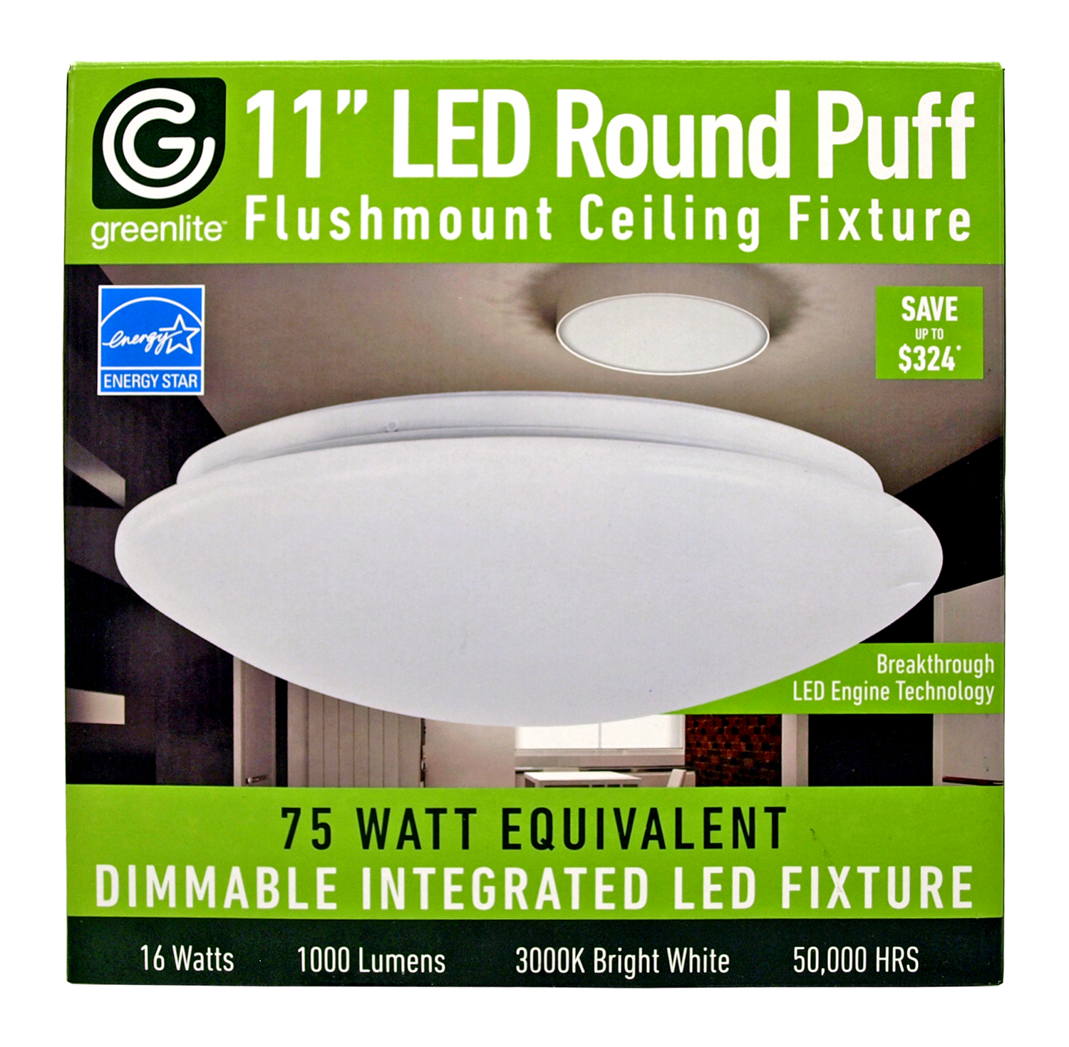 11 in LED Round Puff Flush mount Ceiling Fixture