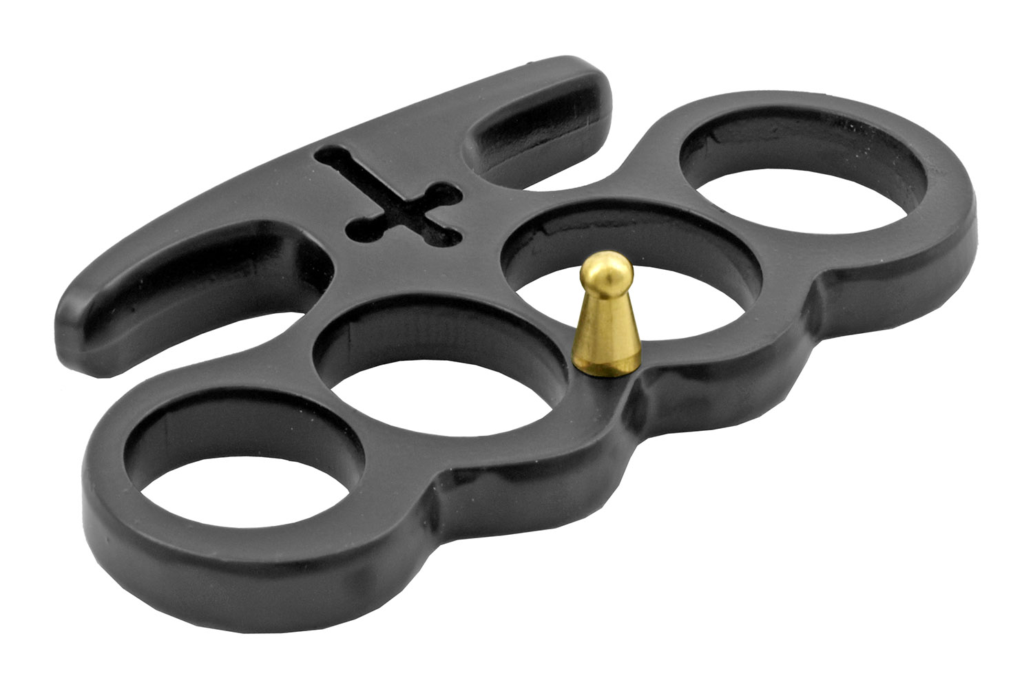 Christian Warrior Brass Knuckle Duster Style Belt Buckle with Cross - Black