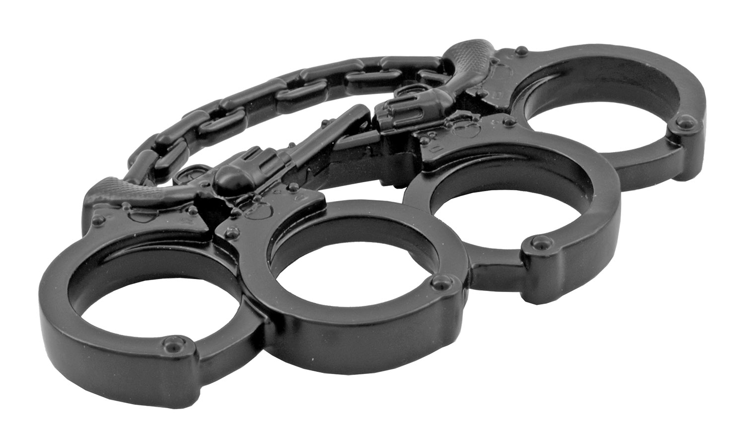 Double Six Shooter Pistol Brass Knuckle Duster Styled Paperweight - Black