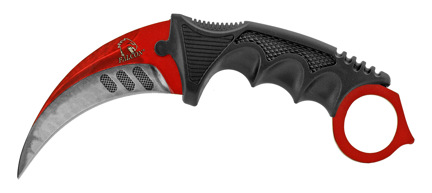 3 - pc. Tactical, Hunting, and Karambit Knife Set Collection - Black and Red