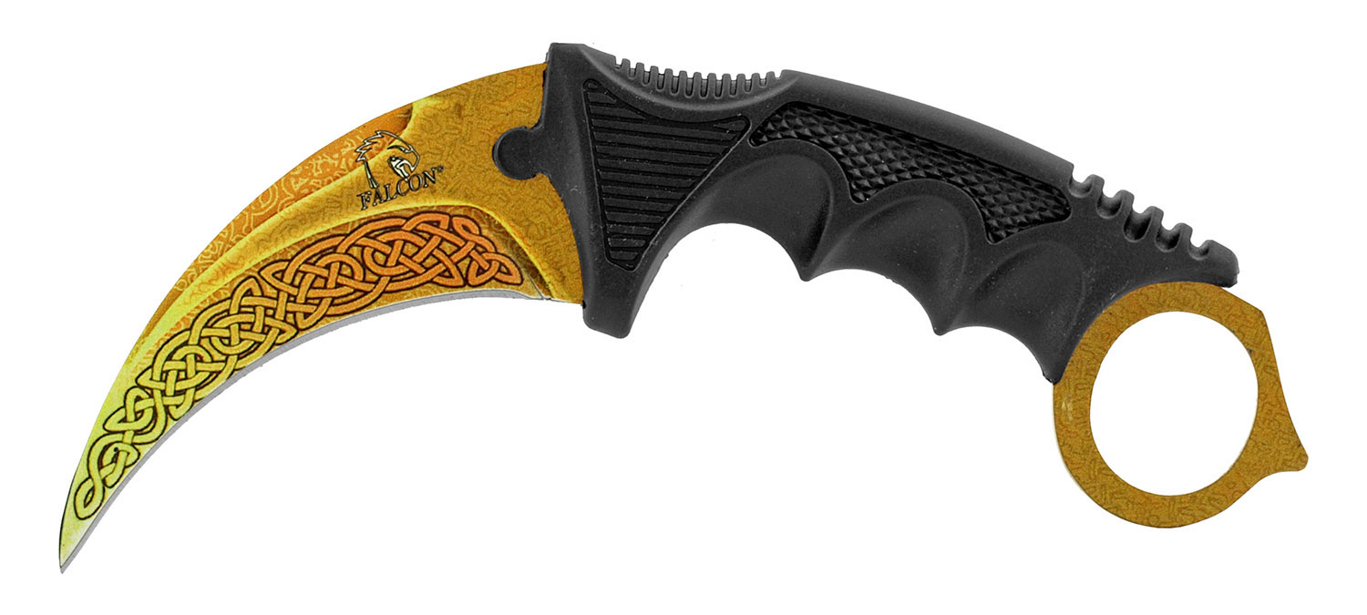 3 - pc. Tactical, Hunting, and Karambit Knife Set Collection - Yellow