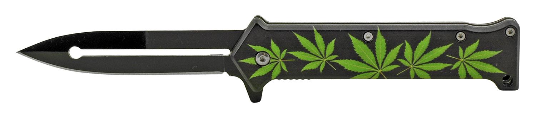 4.63 in Stiletto Spring Assisted Steel Folding Pocket Knife - Marijuana Pot Leaf