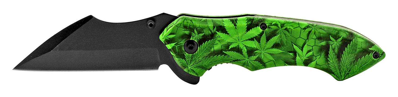 5 in Spring Assisted Sheepfoot Blade Folding Pocket Knife - Marijuana Leaf Camo