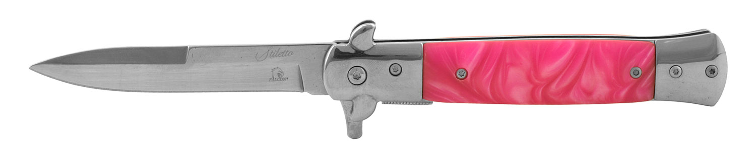 5 in Stainless Steel Stiletto Style Folding Pocket Knife - Pink