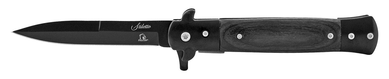 5 in Stainless Steel Stiletto Style Folding Pocket Knife - Black on Black
