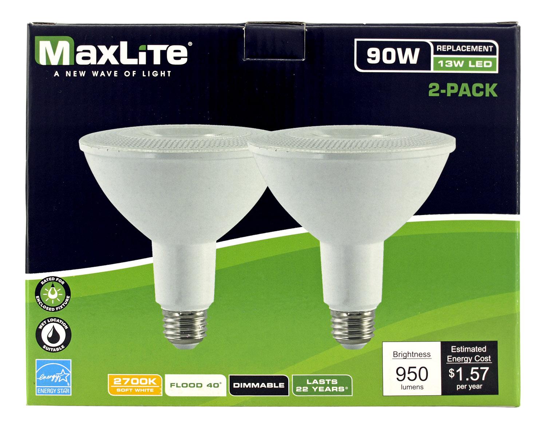 2 pk. PAR38 Flood LED Light Bulbs - 950 Lumens - 27000K