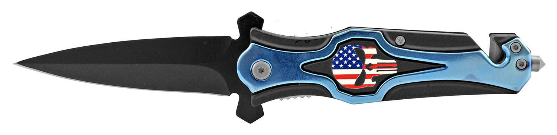 5 in Punisher Skull Spear Point Spring Assisted Folding Pocket Knife - Blue