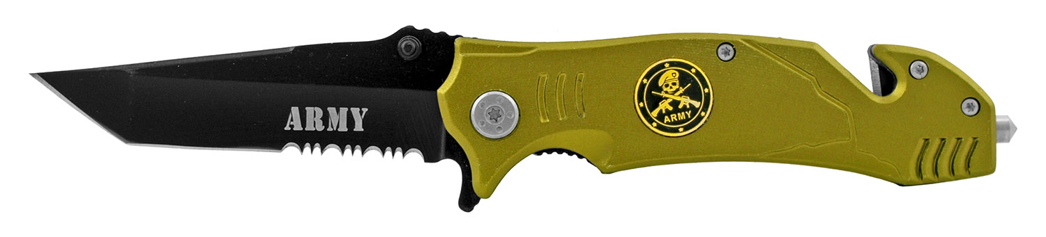 4.63 in Spring Assited Folding Rescue Pocket Knife - Army